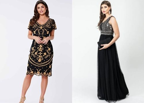 Beaded black and gold cocktail dress and beaded maxi dress