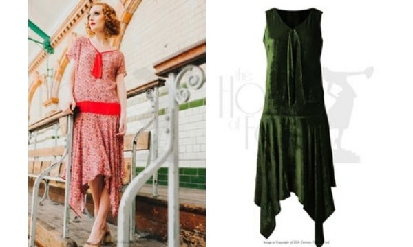A 1920s day dress and a 1920s velvet dress