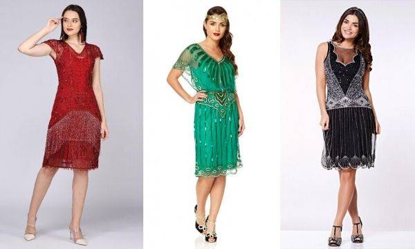 3 models wearing different 1920s style dresses